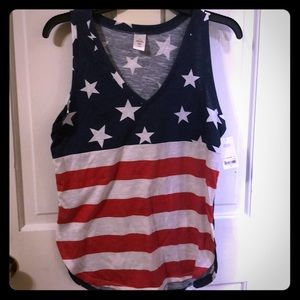 Ladies tank top with Stars and Stripes